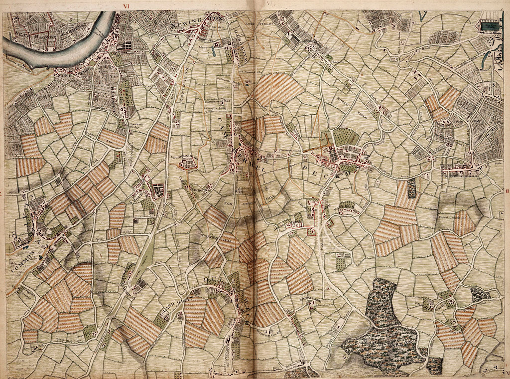Detail of Map of Vauxhall, Clapham, Peckham and Dulwich by John Rocque