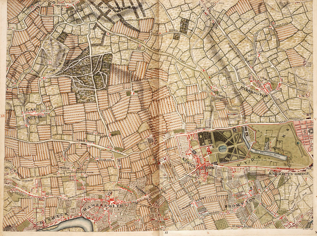 Detail of Map of Acton, Paddington, Hyde Park and Kensington by John Rocque