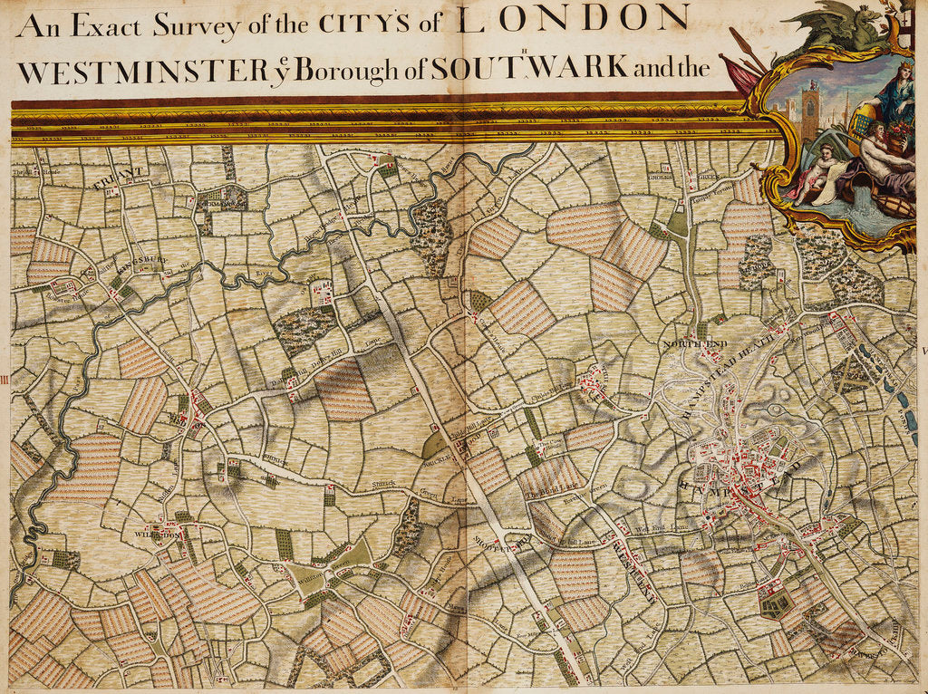 Detail of Map of Willesden and Hampstead by John Rocque