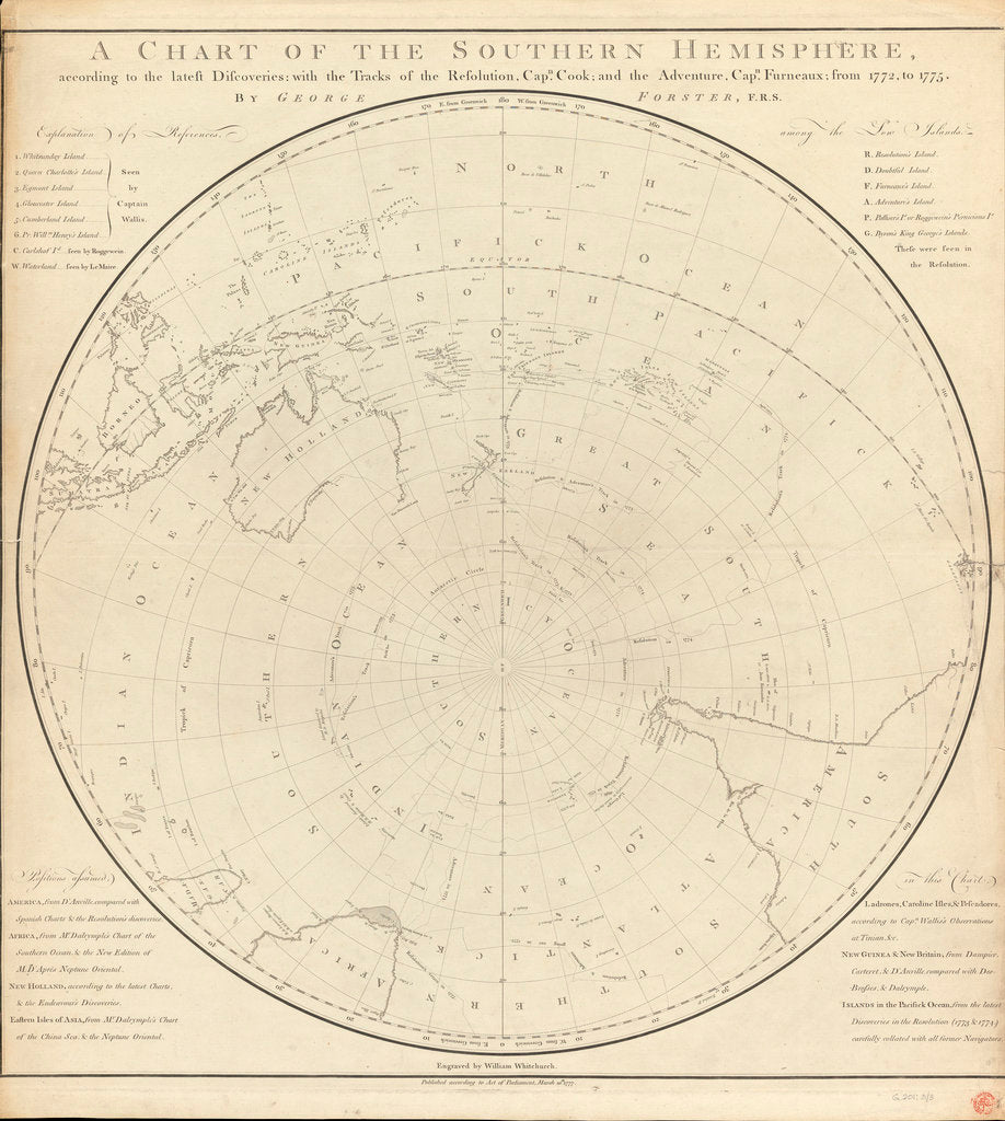 Detail of Chart of the southern hemisphere, post Cook by Georg Forster