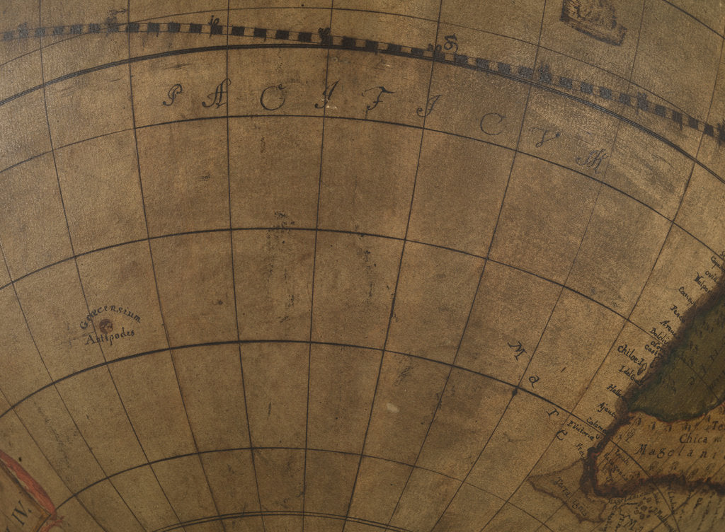 Detail of Terrestrial table globe by unknown