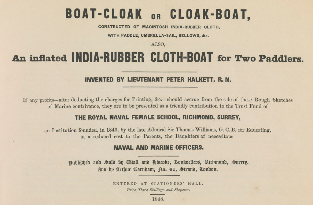 Detail of The Boat-cloak or cloak boat invented by Peter Halkett, R.N. by unknown