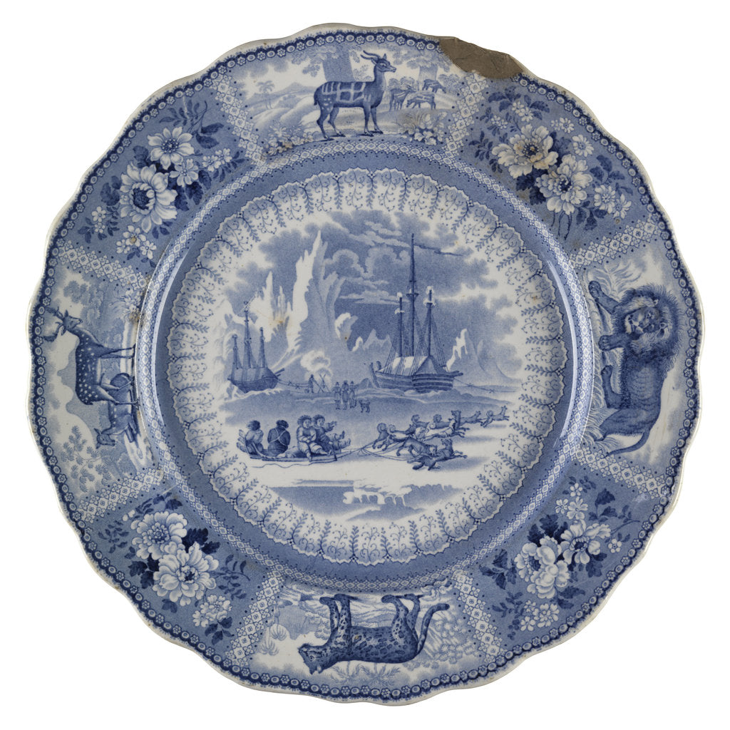 Detail of Dinner plate of the 'Arctic Scenery' pattern by unknown