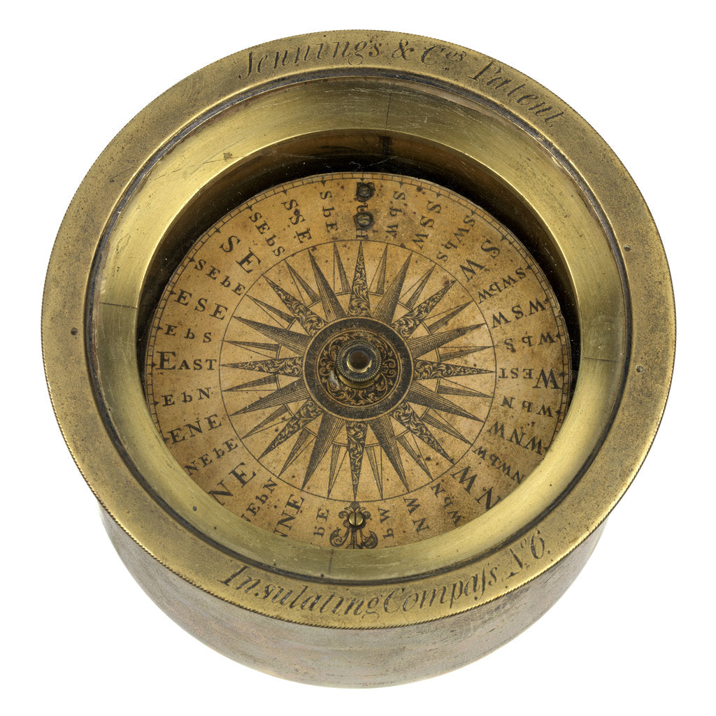 Detail of A magnetic dry-card compass of a type patented by Henry Jennings in 1818 (no. 4259) by Jennings and Company