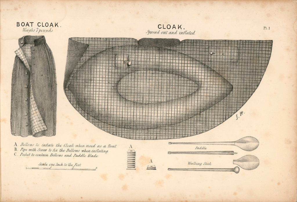 Detail of The boat-cloak or cloak boat...invented by Peter Halkett, R.N. by Peter Halkett
