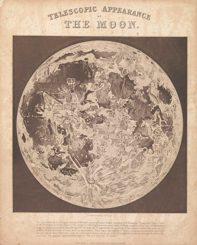 Detail of Telescopic appearance of the moon by James Reynolds