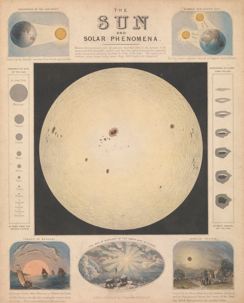 Detail of The sun and solar phenomena by James Reynolds