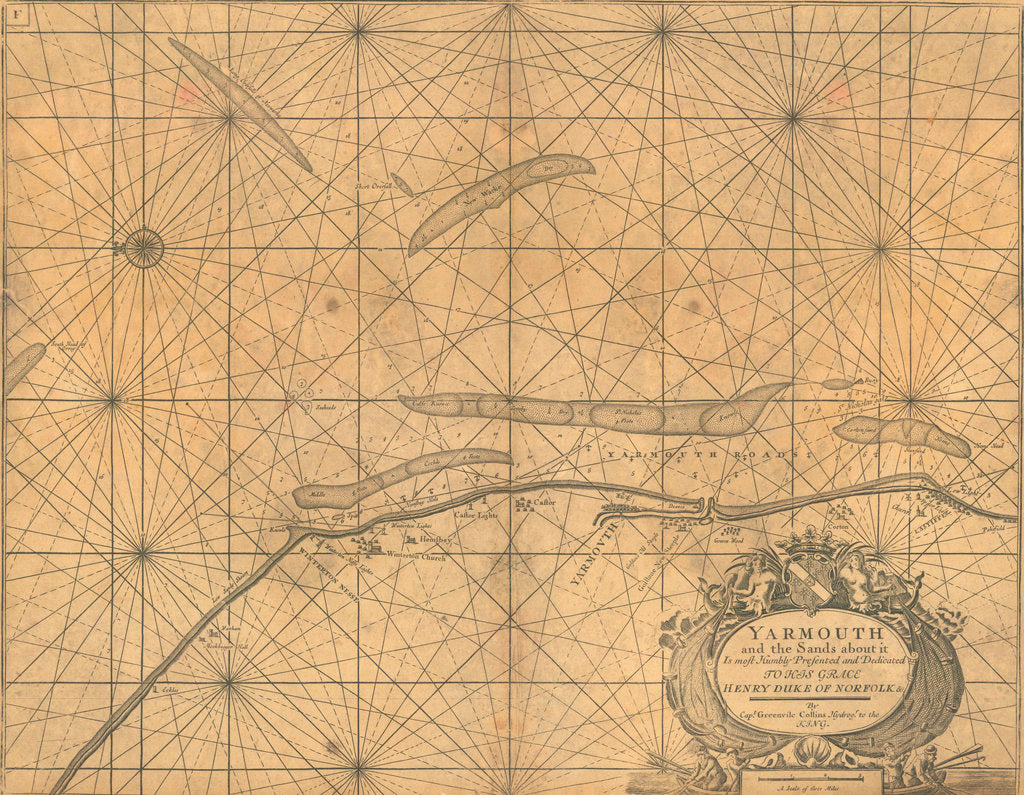 Detail of Chart of Yarmouth and the sands about it by Greenville