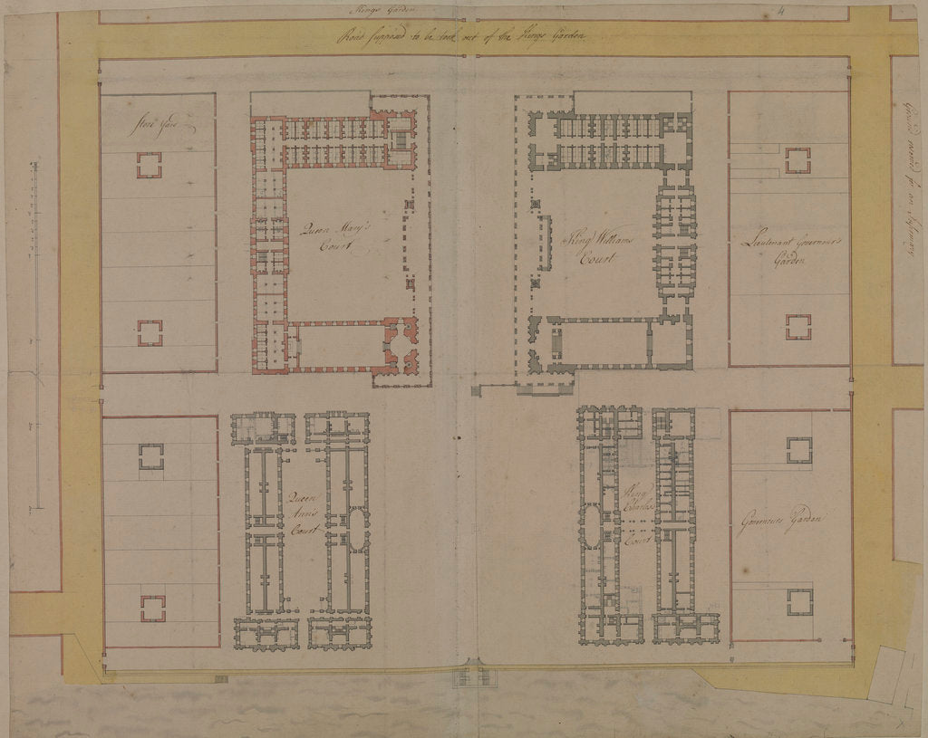 Detail of Thomas Ripley's plan of Queen Mary Block, Greenwich Hospital by Thomas Ripley