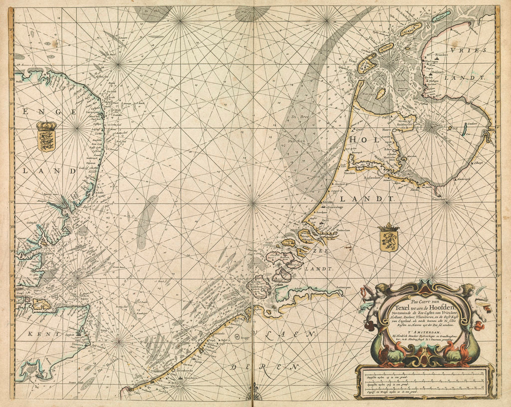 Detail of Chart of the North Sea and Dutch coast, 1661 by Mount & Page