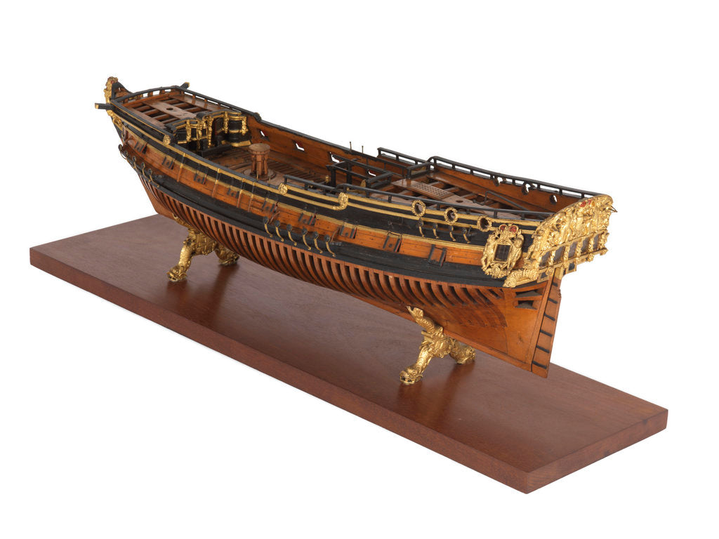 Detail of Model of the 'Rose' (1706), warship, sixth rate, sloop, 20 guns by unknown