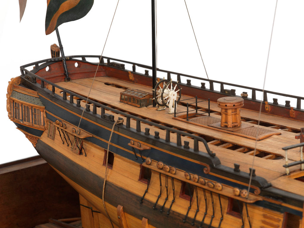 Detail of Model of the 'Mermaid' (1784), warship, frigate, 32 guns by George Stockwell