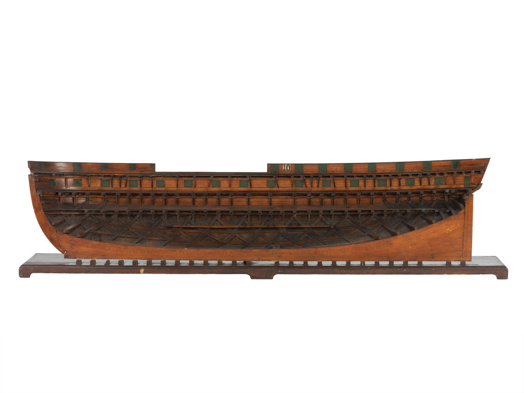 Detail of Model of a warship, 46 guns, frigate by unknown