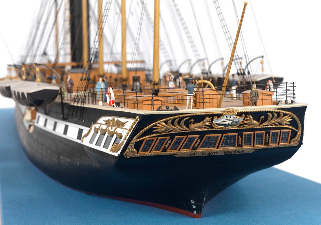 Detail of Ship model of the passenger/cargo vessel SS 'Great Britain' (1843) by Bassett-Lowke Ltd