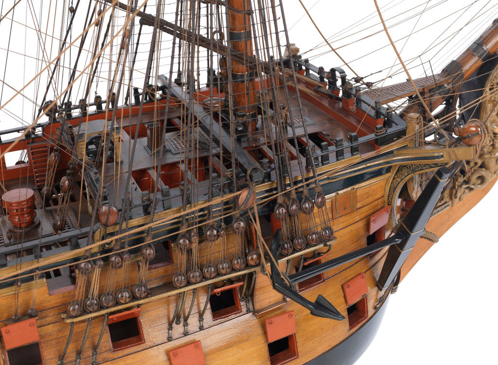Detail of Model of First rate 100-gun warship 'Victory' (1737) by unknown