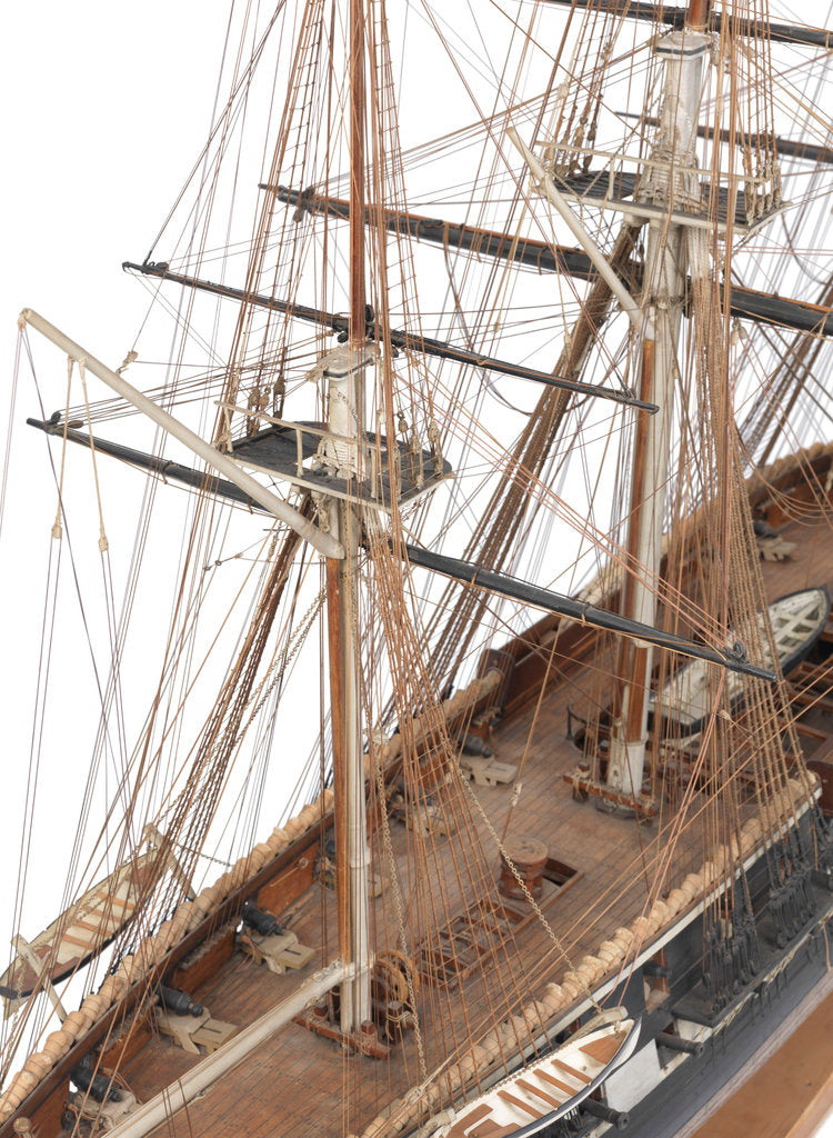 Detail of A full hull and rigged model of the warship and 36-gun frigate 'Phoebe' (1795) by unknown