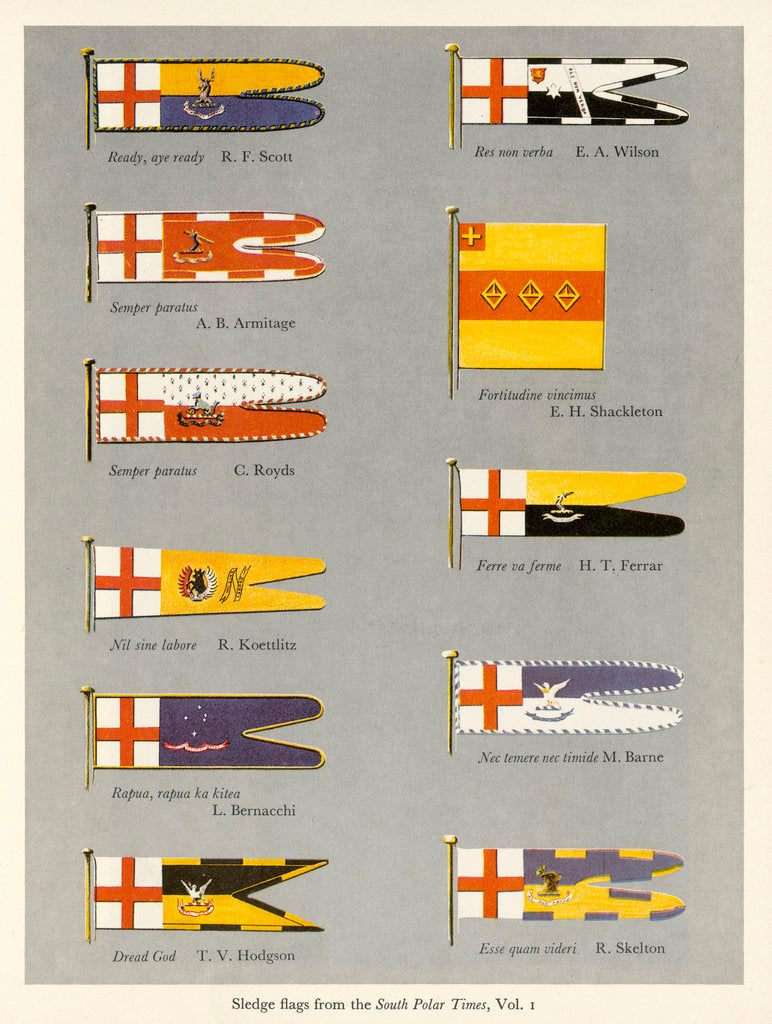 Detail of Sledge flags from the 'South Polar Times' volume 1 by unknown