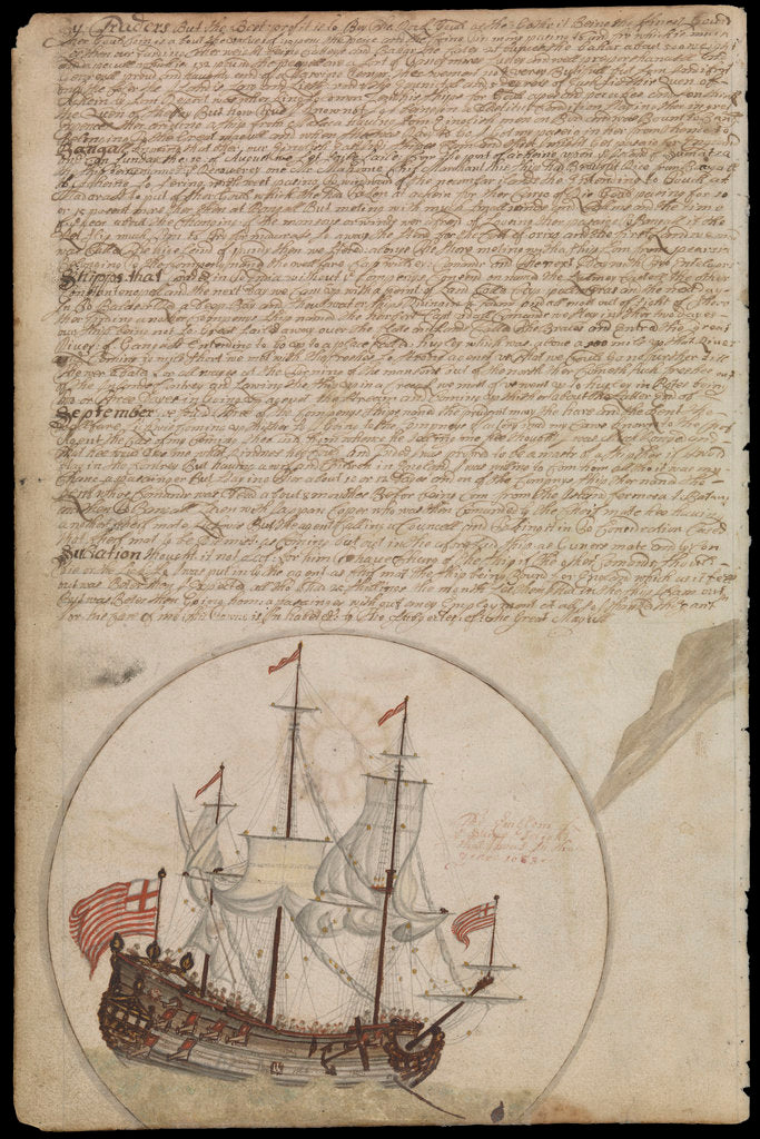 Detail of Plate from Edward Barlow's journal of his life at sea in king's ships, East & West Indiamen & other merchantmen from 1659 to 1703. by Edward Barlow