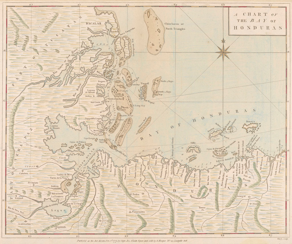 Detail of A chart of the Bay of Honduras by Joseph Smith Speer