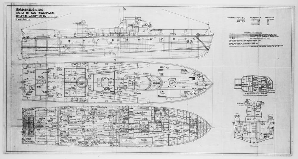 MTB 53, type: 73.75ft MTB (anti submarine type), general arrangement, upper deck, wheelhouse/ midsection plans