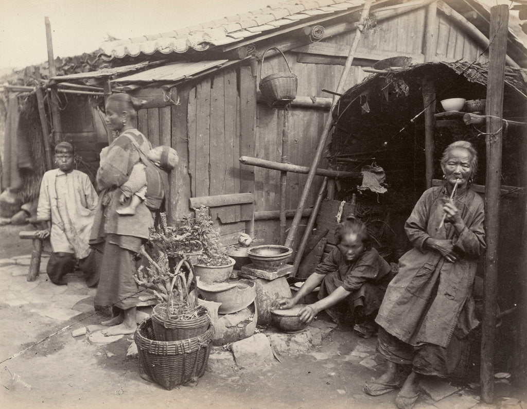 Detail of A domestic family scene in China: residents of Canton [Guangzhou], large-format albumen print. by John Thomson