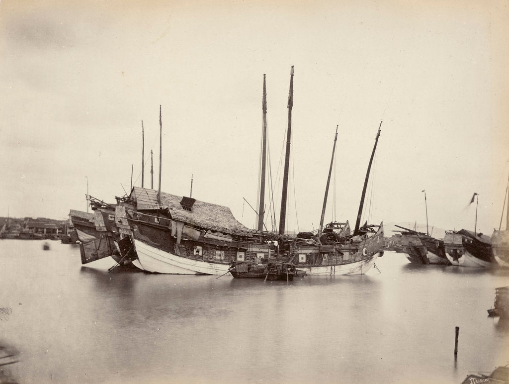 Detail of Junks on the Pearl River [Zhu Jiang] near Canton, large-format albumen print by John Thomson