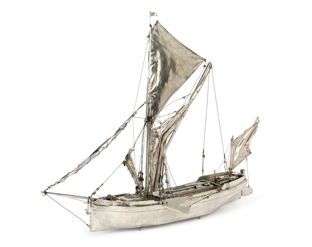 Detail of A full hull model of a Thames sailing barge by