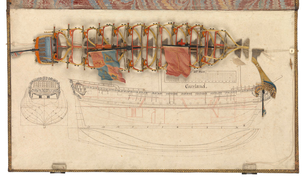 Detail of Folding model and plan of the 'Gurland' (1721) by unknown