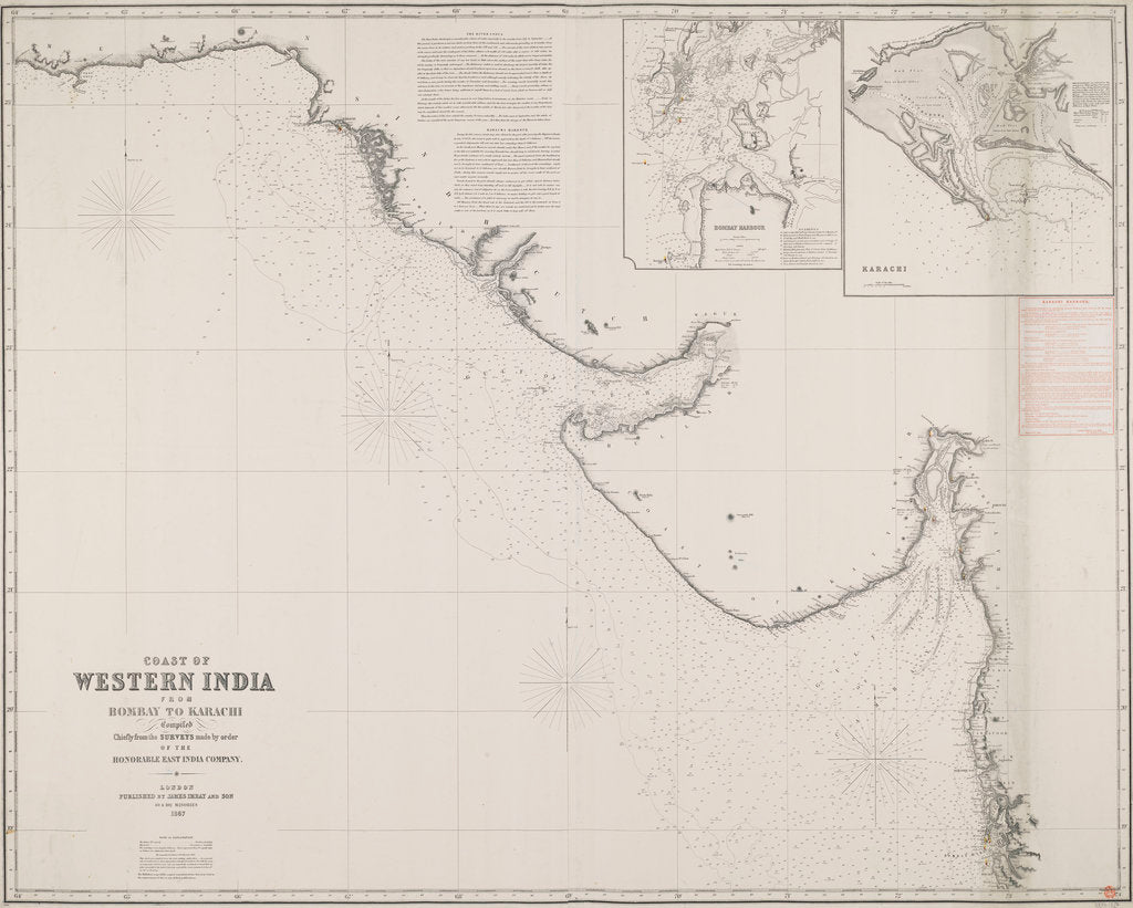 Detail of Coast of Western India from Bombay to Karachi compiled chiefly from the surveys made by order of the honorable East India Company by James Imray & Son