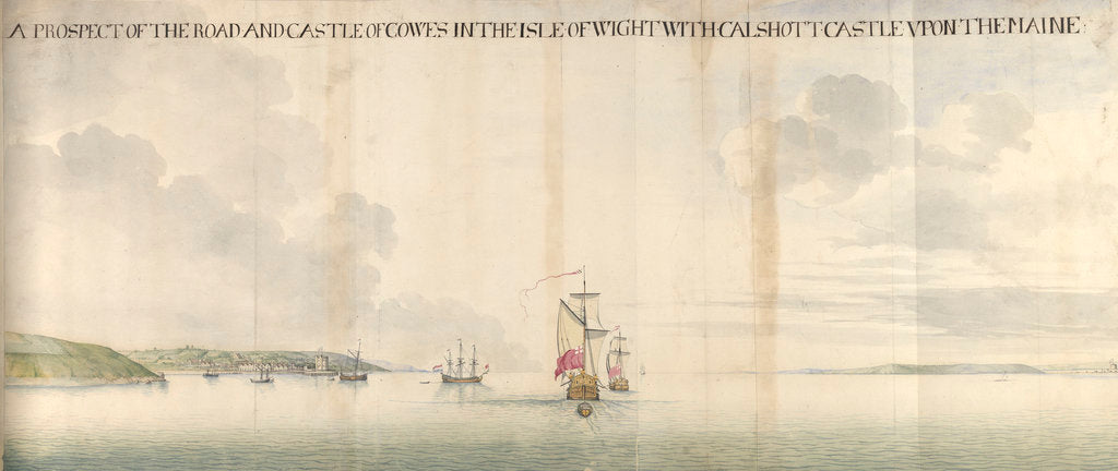 Detail of A prospect of the road and castle of Cowes by Thomas Phillips