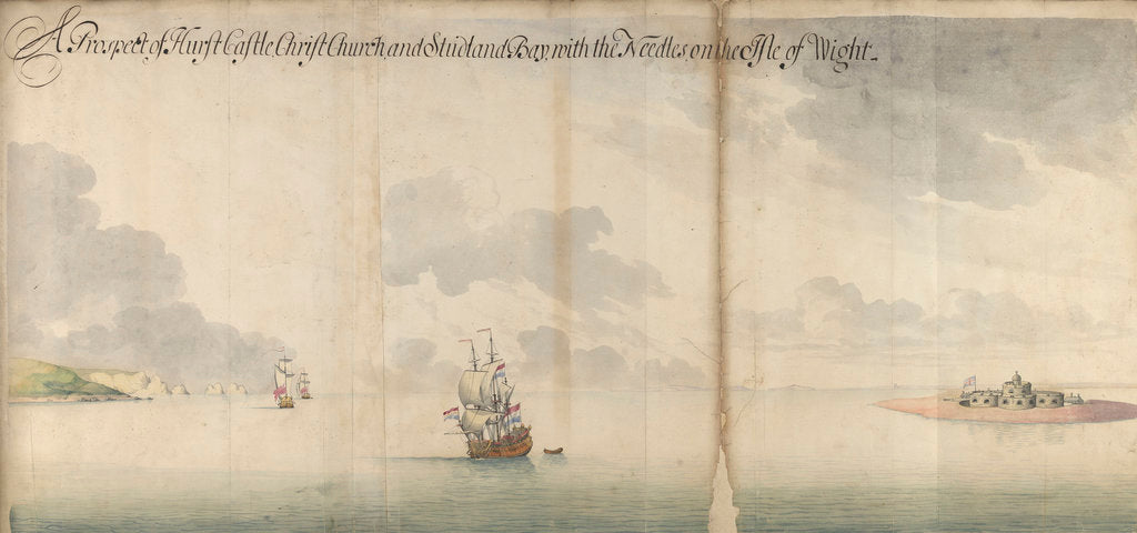 Detail of A prospect of the Hurst Castle, the Needles and the Isle of Wight by Thomas Philips
