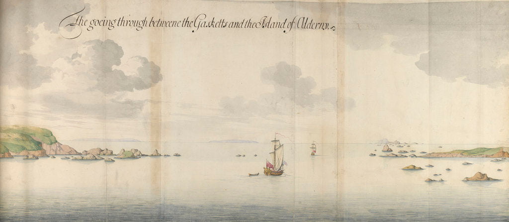 Detail of 'The goeing through betweene the Gasketts and the Island of Alderny by Thomas Phillips