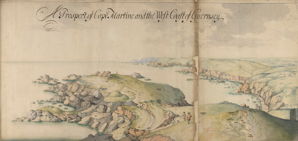 Detail of Channel Islands Survey: A prospect of Cape Martine and the west coast of Guernsey by Thomas Phillips