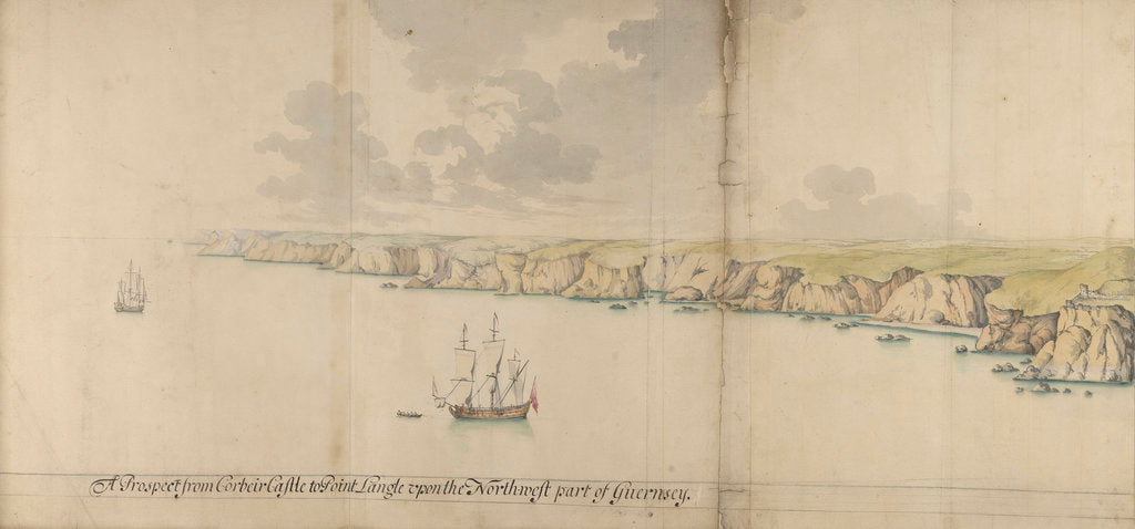 Detail of A prospect from Corbeir Castle tp Point Langle upon the north-west part of Guernsey by Thomas Phillips