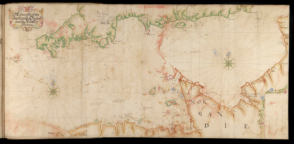 Detail of The Legge Report, 'Channel Islands Survey: A draft of the southern part of England and northern France' by Thomas Phillips