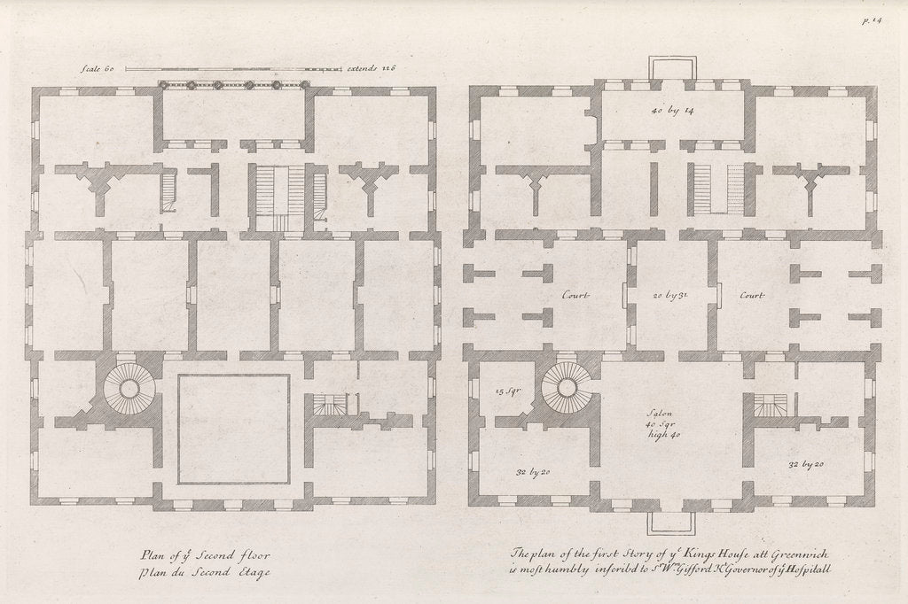 Detail of Floor plans of the Queen's House by Colen Campbell