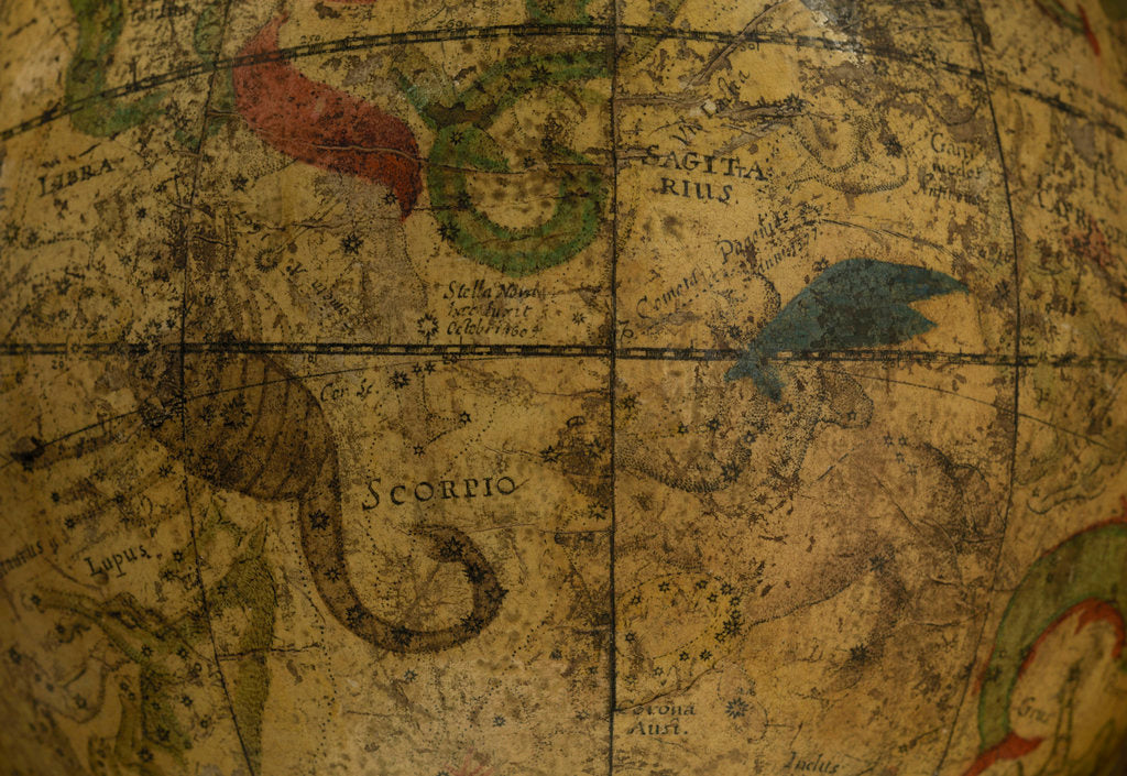 Detail of Celestial table globe, detail of Scorpio & Sagittarius by Isaac Habrecht II
