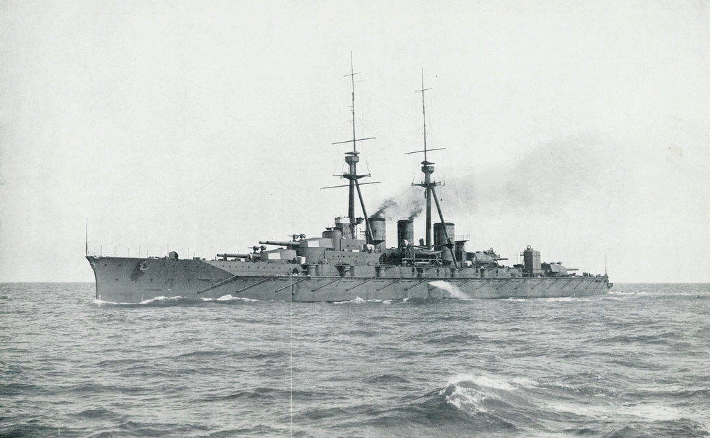 Detail of HIJMS 'Kongo' (1912), a battlecruiser built for Japan by Vickers, undergoing completion trials in British waters by unknown