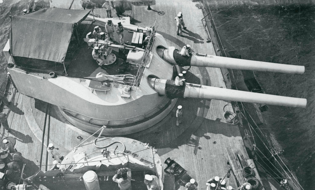 View forward from the foretop of the Austro-Hungarian dreadnought battleship 'Erherzog Franz Ferdinand' (1908) [Radetzky class] by unknown