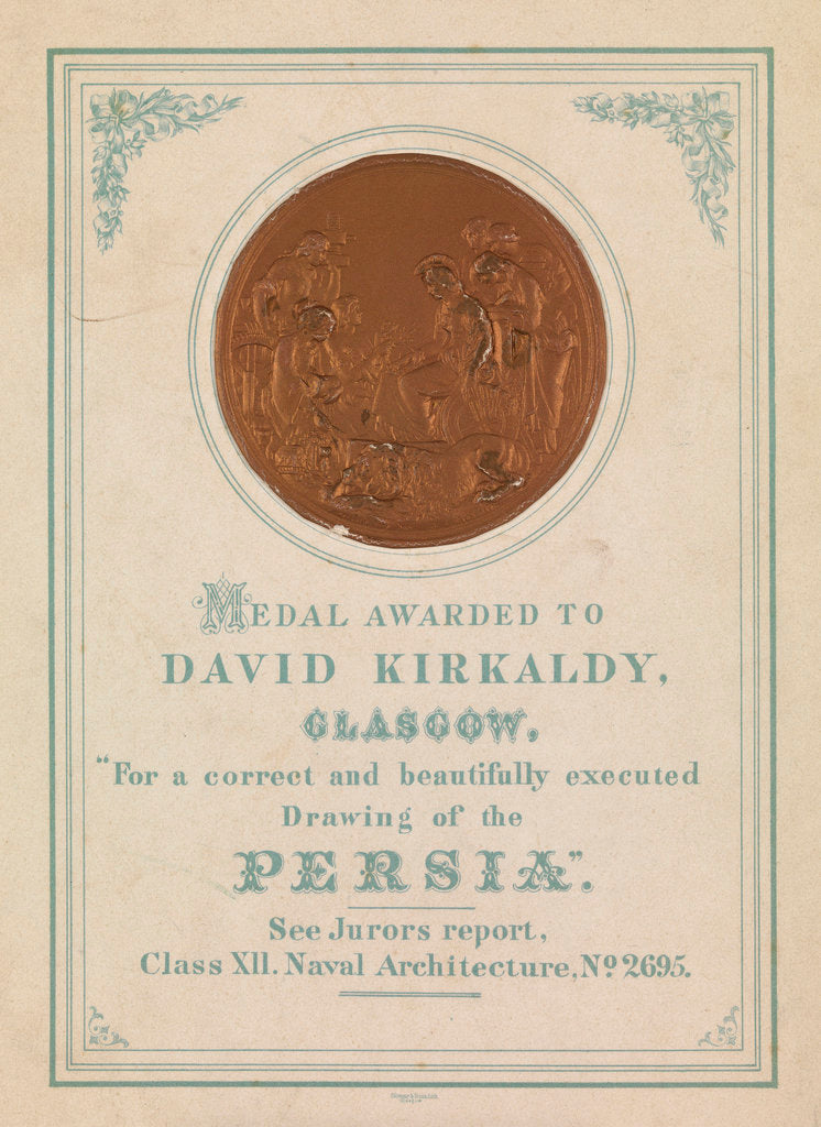 Detail of Medal awarded to David Kirkaldy, Glasgow.  For a correct and beautifully executed drawing of the Persia by unknown