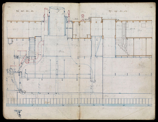 Notebook containing preparation drawings of the construction and fitting for 'Persia' (1855).