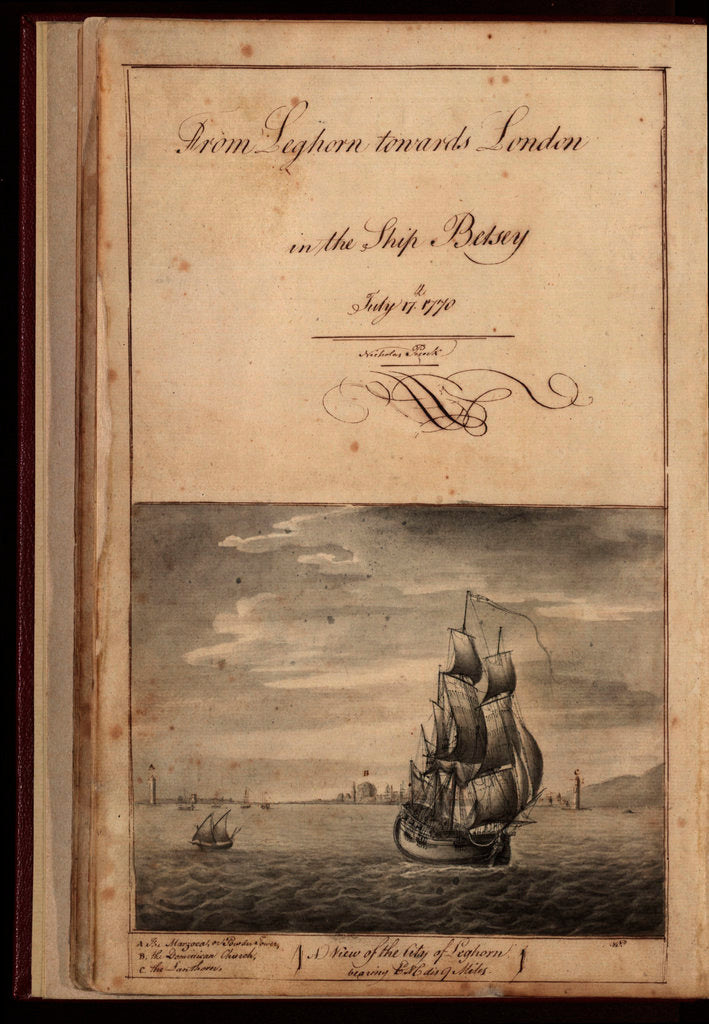 Detail of Frontispiece of 'From Leghorn towards London in the ship 'Betsey'' by Nicholas Pocock, 1770 by unknown