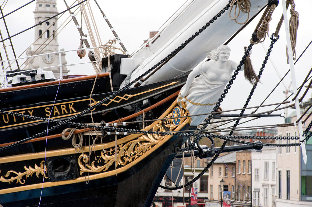 Detail of Refurbished clipper 'Cutty Sark' (1869), re-opened 25 April 2012 by Royal Museums Greenwich Photo Studio