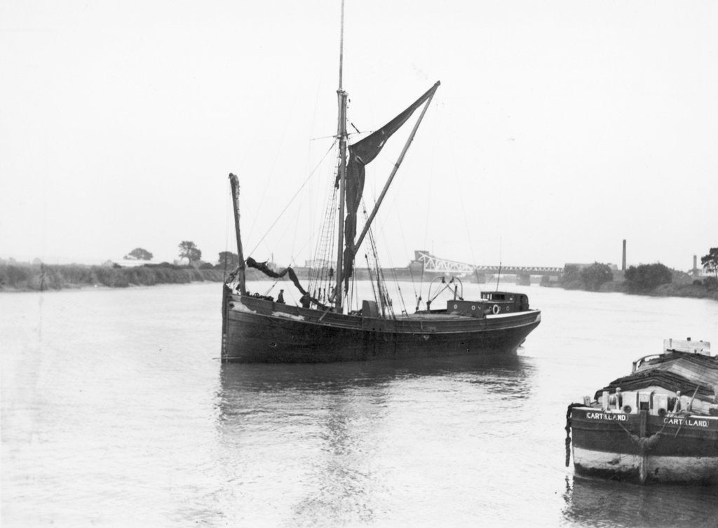 Detail of The 'Olive May' (1920), a port bow view of the barge stopped with sails furled by Anonymous