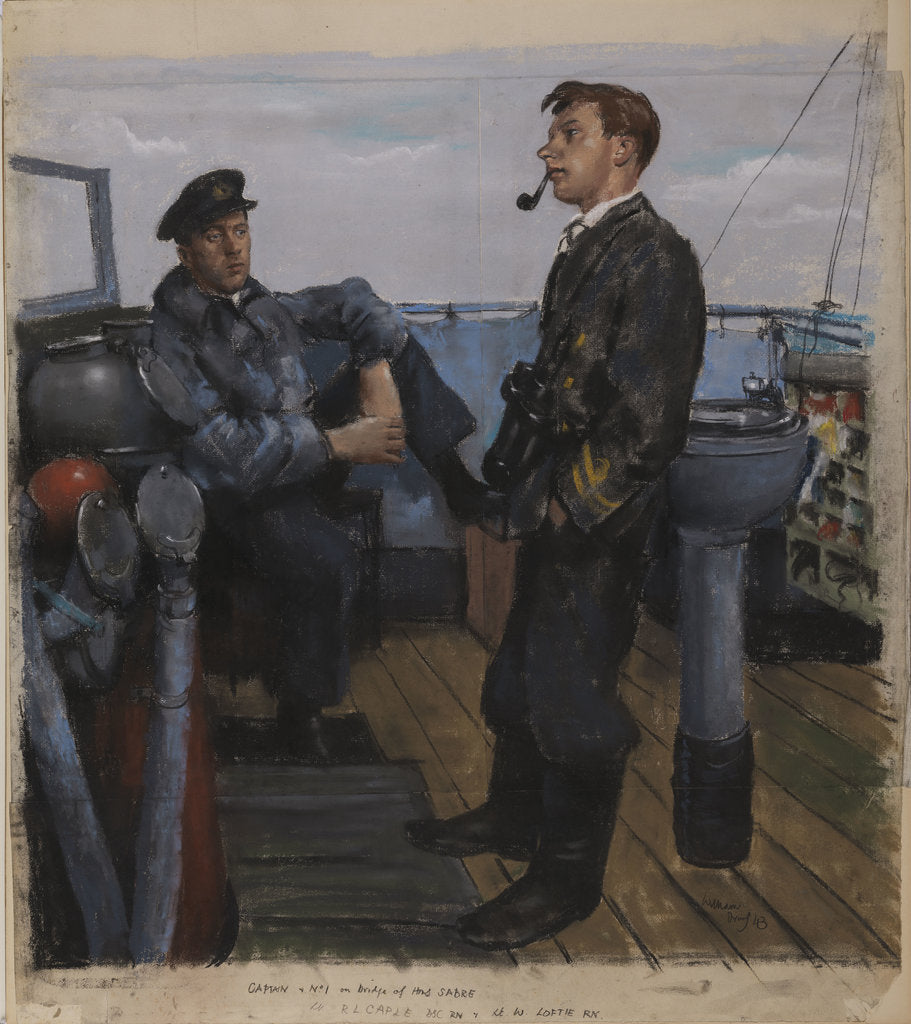 Detail of Captain and No 1 on Bridge of the 'Sabre' by William Dennis Dring