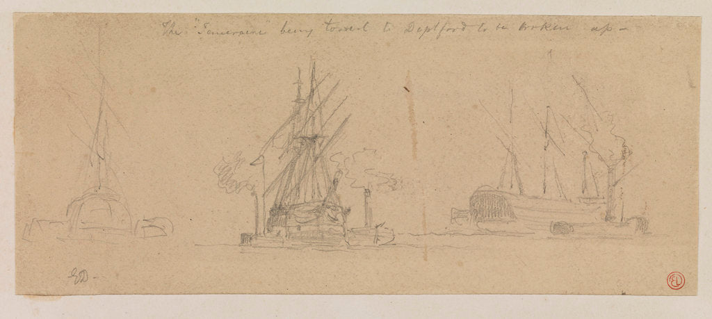 Detail of The Temeraire being towed to Deptford to be broken up by Edward Duncan