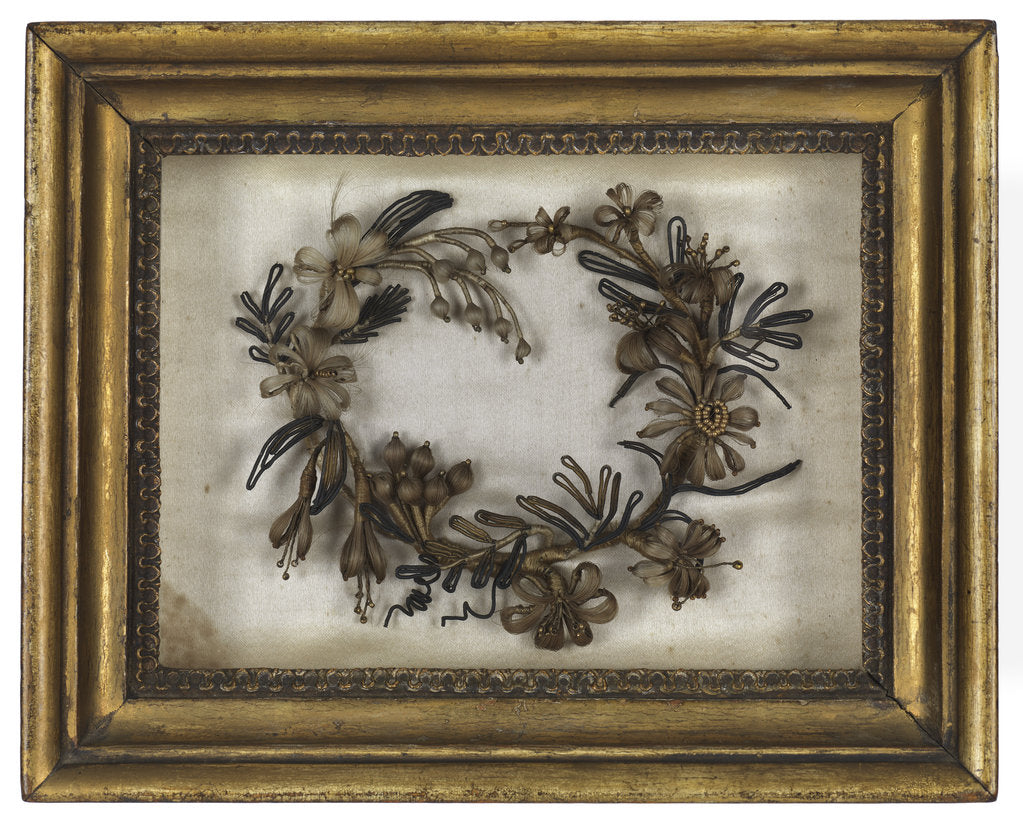 Detail of Wreath made from hair by Emma Hamilton