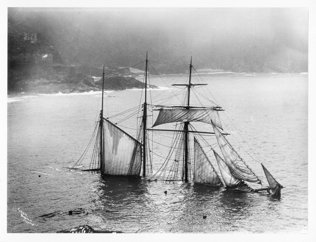 Detail of Photograph of Mildred (1889) wrecked off Gurnard's Head, Cornwall, 1912 from the Gibson collection by Gibson's of Scilly Shipwreck Collection