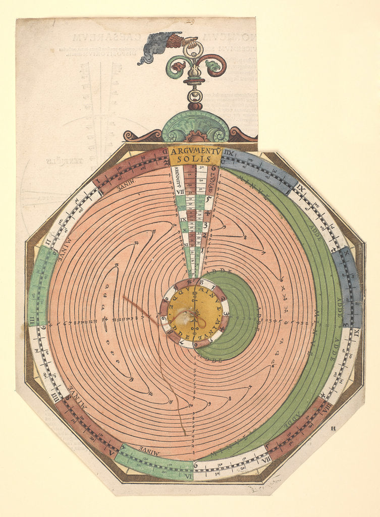 Detail of Volvelle giving the rules for predicting solar and lunar eclipses by Peter Apian