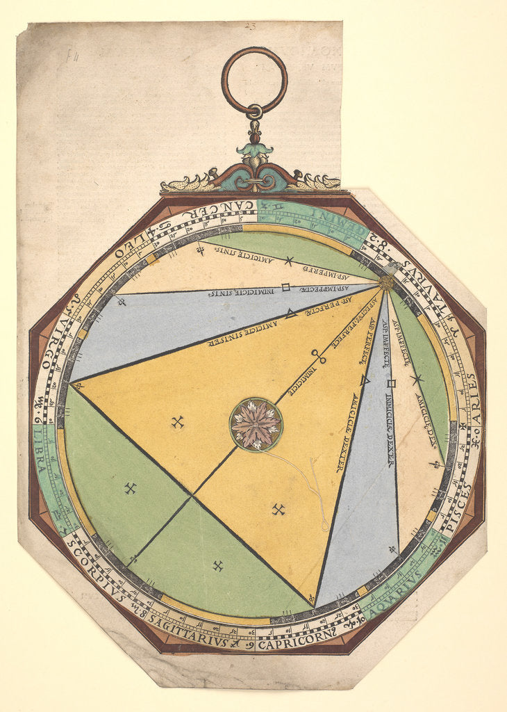 Detail of Volvelle giving a detailed description of the five planetary aspects and their supposed influence by Peter Apian